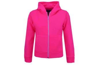 (11-12 Years, Neon Pink) - A2Z 4 Kids® Kids Girls & Boys Unisex Plain Fleece Hoodie Zip Up Style Zipper Age 5 6 7 8 9 10 11 121 3 Years