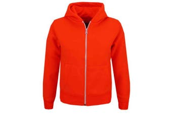 (9-10 Years, Neon Orange) - A2Z 4 Kids® Kids Girls & Boys Unisex Plain Fleece Hoodie Zip Up Style Zipper Age 5 6 7 8 9 10 11 121 3 Years