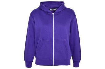 (7-8 Years, Purple) - A2Z 4 Kids® Kids Girls & Boys Unisex Plain Fleece Hoodie Zip Up Style Zipper Age 5 6 7 8 9 10 11 121 3 Years
