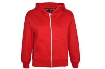 (13 Years, Red) - A2Z 4 Kids® Kids Girls & Boys Unisex Plain Fleece Hoodie Zip Up Style Zipper Age 5 6 7 8 9 10 11 121 3 Years