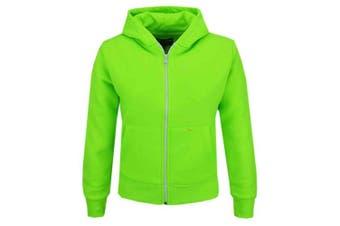 (7-8 Years, Neon Green) - A2Z 4 Kids® Kids Girls & Boys Unisex Plain Fleece Hoodie Zip Up Style Zipper Age 5 6 7 8 9 10 11 121 3 Years