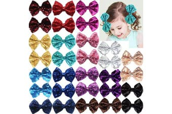 (30Pcs Clips) - Party Festival Baby Girls Sparkling Bows Clips-30 Piece Glitter Sequins 10cm Hair Bows Alligator Hair Clips for Girls Baby Children Toddlers