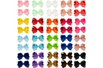 (40Pcs) - 40pcs Little Girls Hair Bows Clips In Pairs Mix Colours Pigtail Cheer Bow Alligator Hair Clips for Baby Girls Toddlers Kids