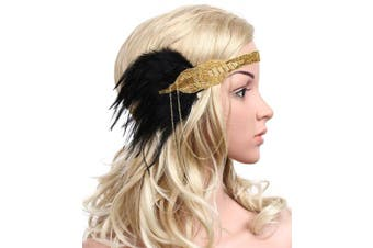BABEYOND Women's Black Feather Headband 1920s Headpiece Vintage Hair Accessories Beaded Headband (Gold)
