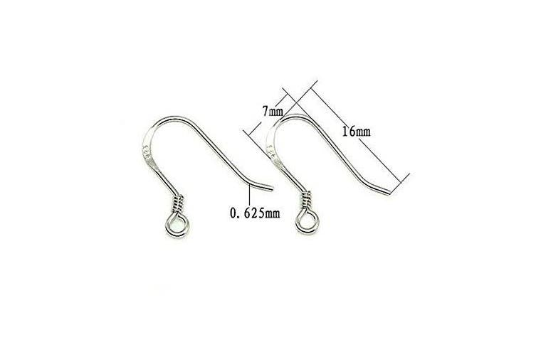 Pamir Tong 30pairs/ 60pcs Genuine 925 Silver French Ear Hooks Earwires Sterling Silver Earring findings 16mm GD30EH69