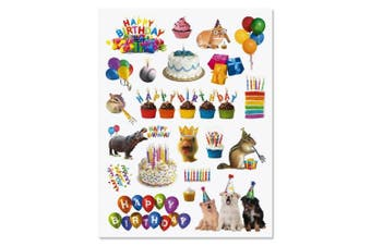 Birthday Stickers - 84 stickers on 2 sheets