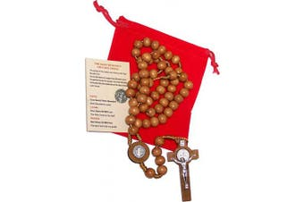 (St. Benedict Center and Cross - Round Smooth 10mm beads) - ST Benedict Rosary Necklace Medal 43cm NR Brown Wood Beads From Holy Land BIG