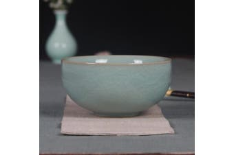 (1, Light Green) - Handmade Celadon(TM) Clay 11cm Bowl Chinese Ceramic Rice Bowl with Cracking(1, Light Grey)