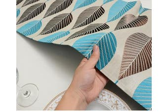 (33cm  x 270cm , Leaf Blue) - LivebyCare Elegant Polyester and Jacquard Table Runners for Home Dining Table Decorative Polyester Tea 33cm x 270cm Table Runner