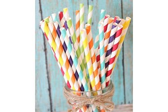 (1) - Charmed Rainbow stripe paper straw set of 150 straws with all the colour of the rainbow!