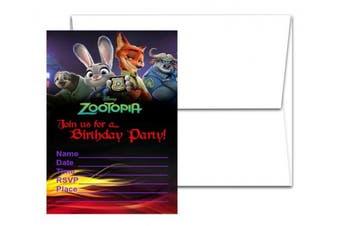 12 ZOOTOPIA Birthday Invitation Cards (12 White Envelops Included)