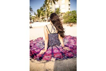 (Pink/Purple) - Wine Wonders Mandala Round Tapestry Hippie Indian Mandala Beach Roundie Picnic Table Throw Hippy Bohemian Spread Boho Gypsy Cotton Tablecloth Beach Towel Meditation Round Yoga Mat - 180cm , Pink