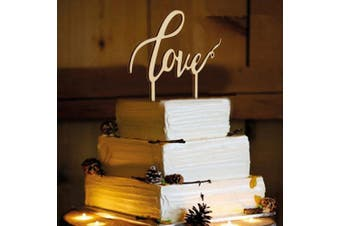 LOVE Wooden Cake Topper Wedding Favours Cake Decoration Vintage