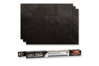 Grill Magic Non-Stick Oven Liners (3-Piece Set) – Thick, Heat Resistant Fibreglass Mat – Easy to Clean – Reduce Spills, Stuck-On Foods and Clean Up – Kitchen Friendly Cooking Accessory,FDA aproved