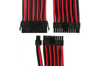 GGPC Braided Cable 20+4 Pin ATX Motherboard Power Extension Cable (24Pin, Red and Black)(40cm)