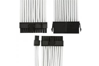 GGPC Braided Cable 20+4 Pin ATX Motherboard Power Extension Cable (24Pin, White)(40cm)