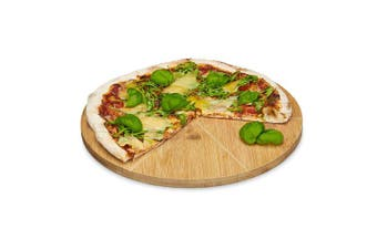 Relaxdays Bamboo Pizza Plate with Wooden Cutting Board, Firm Pizza Board with 6 Parts, Natural Brown, 33 cm