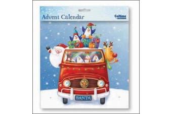Square Advent Calendar (WDM9689) Caltime - Santa's Van - Glitter Varnished by Caltime