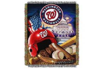 (Washington_Nationals) - Officially Licenced MLB Home Field Advantage Woven Tapestry Throw Blanket, Soft & Cosy, Washable, Throws & Bedding, 120cm x 150cm