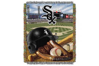 (Chicago White Sox) - Officially Licenced MLB Home Field Advantage Woven Tapestry Throw Blanket, Soft & Cosy, Washable, Throws & Bedding, 120cm x 150cm
