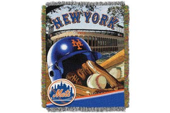 (New York Mets) - Officially Licenced MLB Home Field Advantage Woven Tapestry Throw Blanket, Soft & Cosy, Washable, Throws & Bedding, 120cm x 150cm