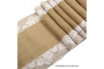 (Type 1) - Soriace® Vintage Burlap Hessian Lace Table Runner, Natural Jute Rustic Country for Wedding / Festival / Event / Table Decoration, 30*275cm
