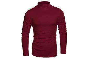 (XX-Large, Wine Red) - Coofandy Men's Turtleneck Roll Neck Polo Necks Slim Fit Pullover Sweaters