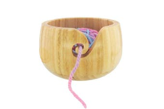 (1 Piece, Natural) - BambooMN Brand - Bamboo Yarn Bowl with Removable Lid -Yarn Holder for Knitting and Crochet - Natural Bowl