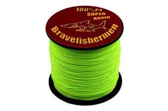 (300M, 100lb) - Bravefishermen Super Strong Pe Braided Fishing Line 2.7kg to 2.7kg Fluorescent Green