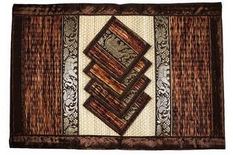 (Large Brown) - Place Mat and Coaster 4 set 2 sizes Natural Reed wicker with plush silk trim and elephant print Eco sustainable craft