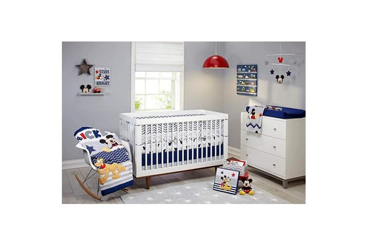 (Navy/Grey/Red/Yellow) - Disney Mickey Mouse - Let's Go Mickey Secure-Me Crib Liner, Navy/Grey/Red/Yellow