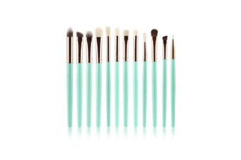 AMarkUp Eye Shadow Makeup Brushes Set 12 Piece Synthetic Hair Eyebrow Cosmetic Kits Tools (Light Green)