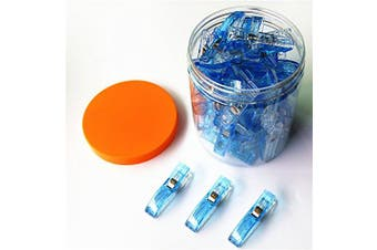 (big 50 pcs, 50 blue) - CADY WONDER CLIPS -50 JUMBO Clips! - Vibrant Colours! All Purpose Craft Clips - Perfect as Sewing Clips, Quilting Clips,Binding Clips & More! blue