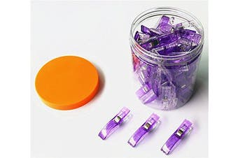 (big 50 pcs, 50 Purple) - CADY WONDER CLIPS -50 JUMBO Clips! - Vibrant Colours! All Purpose Craft Clips - Perfect as Sewing Clips, Quilting Clips,Binding Clips & More! Purple