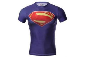 (Purple, XXL) - Cody Lundin Mens Super Hero Fitness T-Shirt Men's Compression Jogging Motion Run Short Sleeve T-shirt