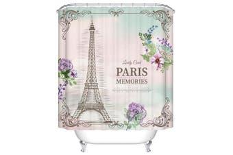 (150cm  W x 180cm  L, Paris Meomories) - ChezMax Paris Memories Eiffel Tower Waterproof Bathroom Fabric Shower Curtain with 12 Hooks 150cm W x 180cm L