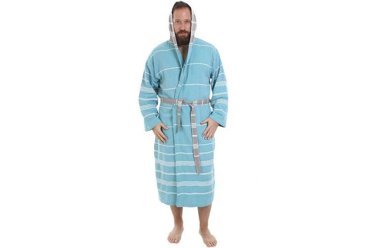 (SMALL/MEDIUM, Aqua) - Cacala Hooded Turkish Bathrobe – Comfortable 100% Cotton Turkish Bath Towel Fabric – Bright, Vibrant Colours – Super Absorbent & Fast Drying