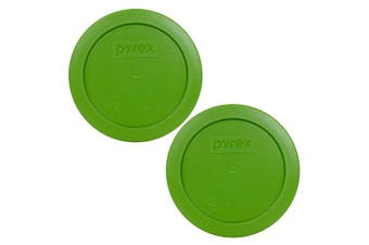 Pyrex 7200-PC Round 2 Cup Storage Lid for Glass Bowls (2, Lawn Green)
