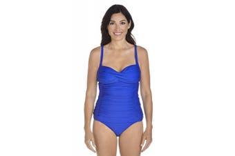 (XL, 44 (EU), 16 (UK), Baja Blue) - Coolibar Women's UV Protective 50 Plus Ruche Bandeau Tankini-Black, Size 10/Small