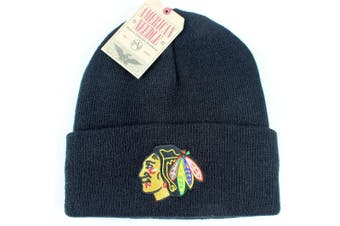 (Chicago Blackhawks - Black) - American Needle Hockey Cuffed Beanie Hat - NHL Raised Cuff Knit Cap