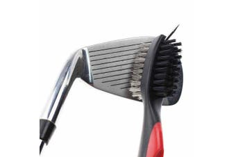 (Red) - Calunce Golf Brush and Divot Groove Spike Tool 2 Fit Retravtable Zip-line Aluminium Carabiner ,Easily Attaches to Golf Bag