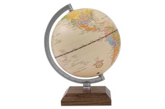 Advantus Ivory Desk Globe, 14cm Diameter, Walnut Base/Silver Arm