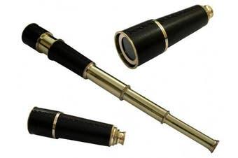 Nautical Brass Pirate Telescope Black Leather Replica Pirate Royal Navy Spyglass Pocket Telescope - 46cm Long