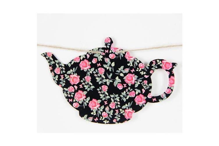 SUNBEAUTY Paper Teapots Tea Cup Banner DIY Hanging Garlands Mother's Day Tea Party Birthday Baby Shower Garden Decor