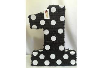 APINATA4U Large Black Number One Pinata with White Polka Dots 60cm Tall