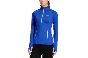 (X-Large, Blue) - Baleaf Women's Thermal Fleece Half Zip Thumbholes Long Sleeve Running Top