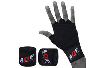(Black) - AQF Boxing Hand Wraps 4 Metre Elasticated Bandages – For Combat Sports, Boxing, MMA & Cross Fitness