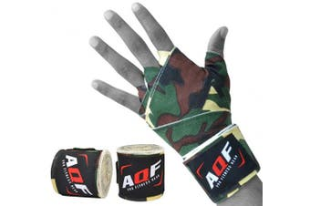 (Green Camo) - AQF Boxing Hand Wraps 4 Metre Elasticated Bandages – For Combat Sports, Boxing, MMA & Cross Fitness