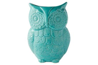 """(Blue) - Owl Utensil Holder by Comfify - Decorative Ceramic Cookware Crock & Organiser, in Lovely Aqua Blue Colour - Utensil Caddy and Perfect Kitchen Ceramic Décor Gift - 5"""" x 7"""" x 4"""" Size"""