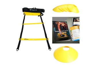 (Yellow) - Trained Agility Ladder Bundle 6 Sports Cones, Free Speed Chute, Agility Drills eBook and Carry Case